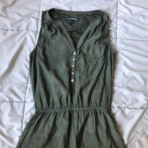 Olive Green Button Dress